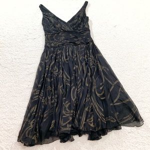 Tadashi collection silk printed a-line sleeveless